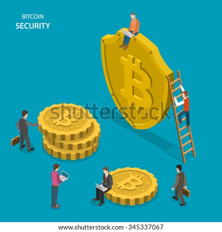 Bitcoin security isometric flat vector concept. People are walking near shield with bitcoin sign and digital coins. Safe transaction, protected transfer. - stock vector