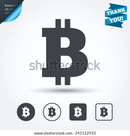 Bitcoin sign icon. Cryptography currency symbol. P2P. Circle and square buttons. Flat design set. Thank you ribbon. Vector - stock vector