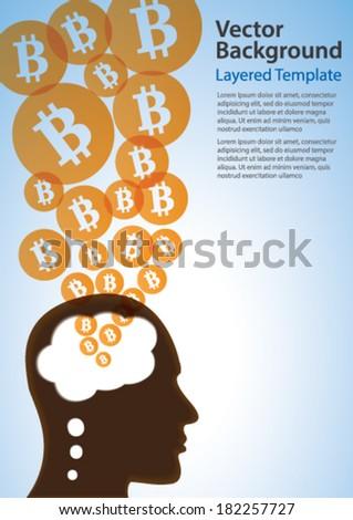 BitCoin & Thinking Head Creative Concept - Vector Background - stock vector