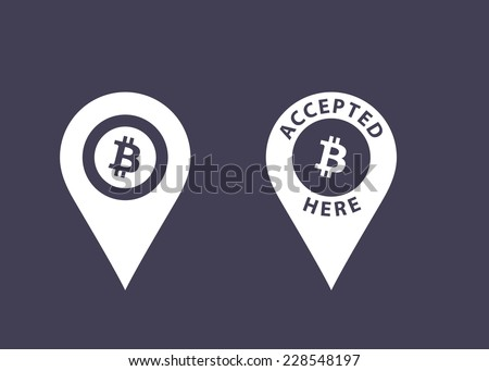 Bitcoins accepted here signs. Virtual currency icons. Vector illustration - stock vector
