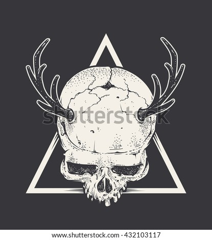 Bizarre art of skull with horns in triangle shape. Hand drawn style illustration. Monochrome vector art.  - stock vector