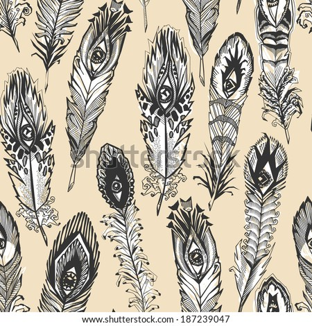 bizarre feather with eyes, ocher seamless pattern - stock vector