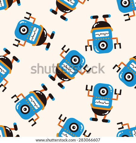 bizarre robot icon 10,seamless pattern - stock vector
