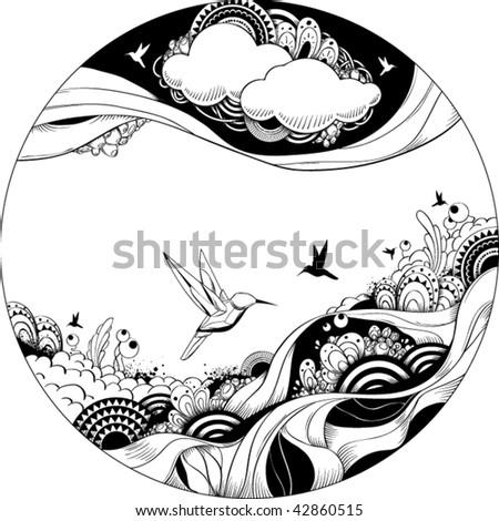 Bizarre vector illustration. Black and white ink sketch. - stock vector