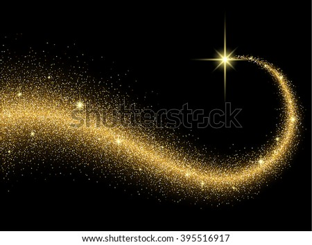 Black abstract background with shining comet. Vector illustration. - stock vector