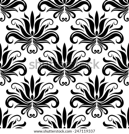 Black abstract flowers and stems in seamless foliate pattern with white background for fabric and interior design - stock vector