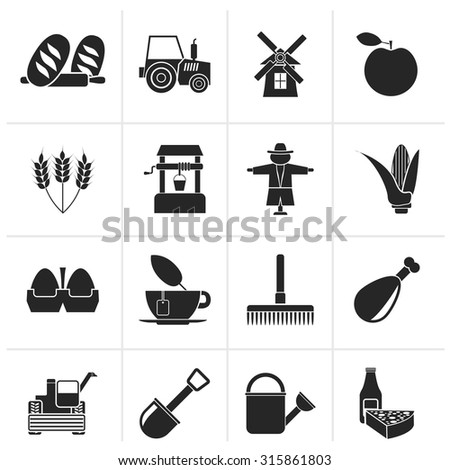 Black Agriculture and farming icons - vector icon set - stock vector