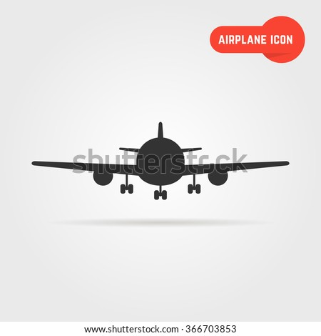 black airplane icon with shadow. concept of airplane cockpit, airplane image, airplane view. airplane icon isolated on gray background. flat style trend modern airplane logo design vector illustration - stock vector