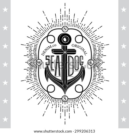 Black Anchor On White. Vintage Label, Background. Typography Elements - stock vector
