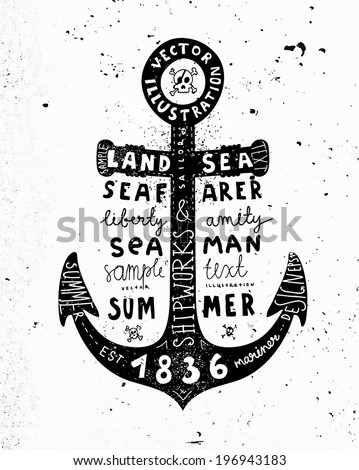 Black Anchor. Vintage Label, Concrete Wall Background. Typography Elements. - stock vector