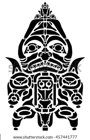 Black ancient American tattoo. Indian Alaska. Emblem, symbols. Ritual statuette. - stock vector