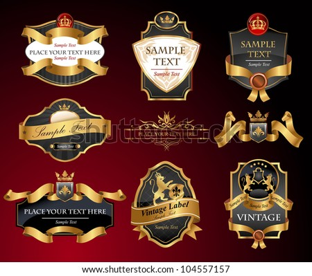 Black and gold labels, vector illustration. All elements separately. - stock vector