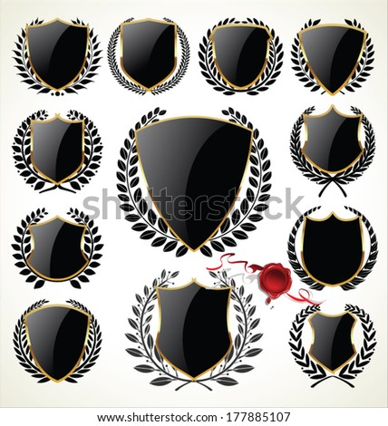 Black and gold shield and laurel wreaths - stock vector