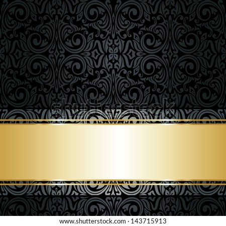 black  and gold vintage wallpaper - stock vector