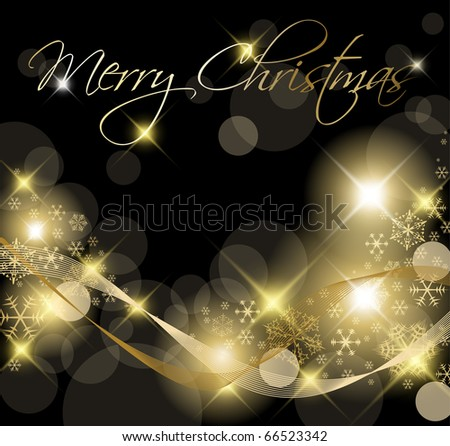 Black and Golden Christmas background / card with snowflakes - stock vector
