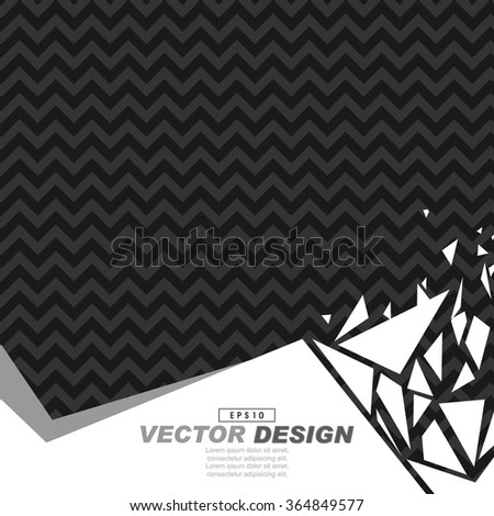 black and gray zigzag pattern background on white footer broken glass effect - stock vector