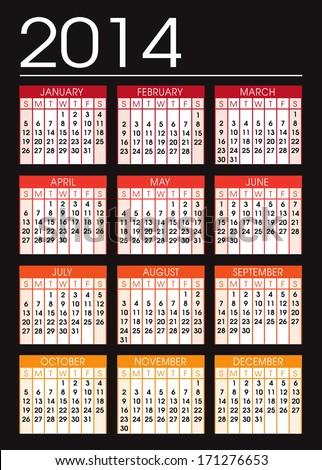 Black and orange tone  2014 calendar illustration vector - stock vector