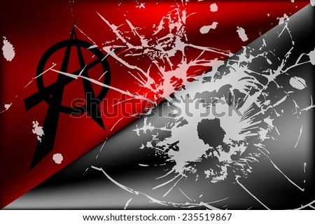 Black and red anarchy flag with anarchy symbol and bullet hole. Vector illustration. - stock vector