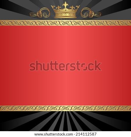 black and red background with golden crown - stock vector
