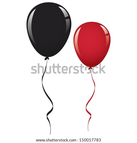 black and red balloon ribbon - stock vector