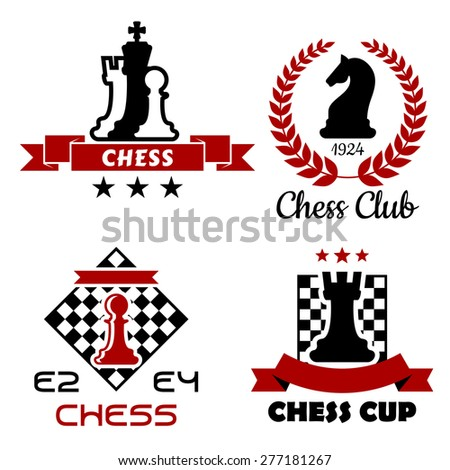 Black and red Chess cup, club and tournament symbols or emblems isolated on white background - stock vector