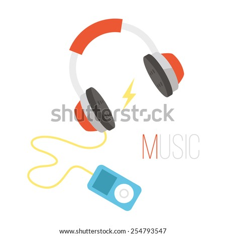 Black and red headphones and  portable audio player vector illustration. Art depicted music as lifestyle creative concept. Awesome signs and symbols. Isolated on white background. - stock vector