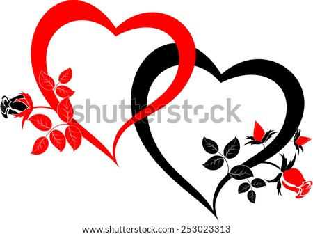 Black and red hearts with roses. EPS10 vector illustration. - stock vector