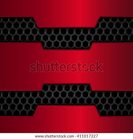 Black and red metal background. Red Chrome. Metal grid. Honeycomb background. Vector illustration EPS10 - stock vector