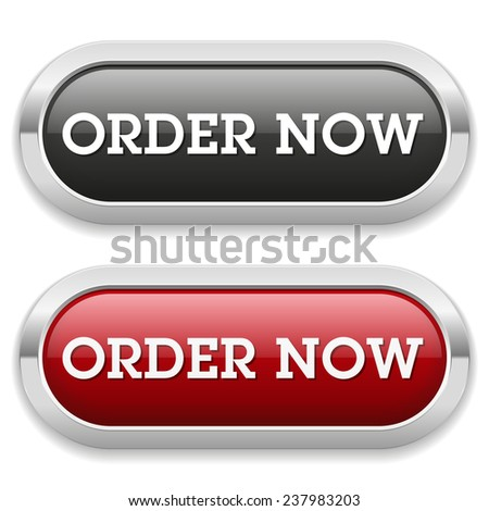 Black and red order now button on white background - stock vector