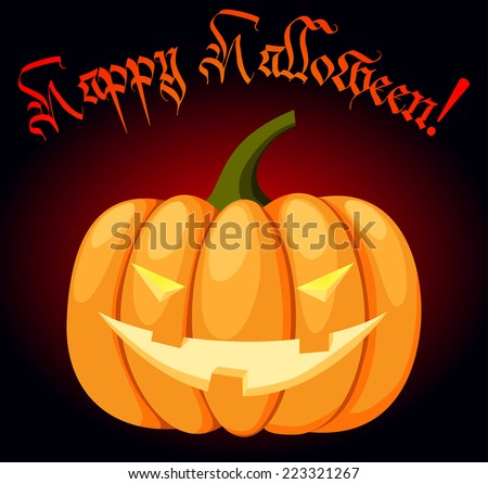 Black and red poster or greeting card with pumpkin with an evil face for Halloween - stock vector