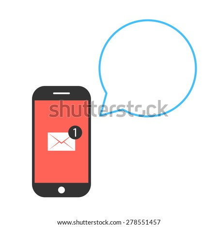 black and red smartphone with letter and speech bubble. concept of texting, messaging, connection, chatting, notification, information, newsletter. flat style trend modern design vector illustration - stock vector