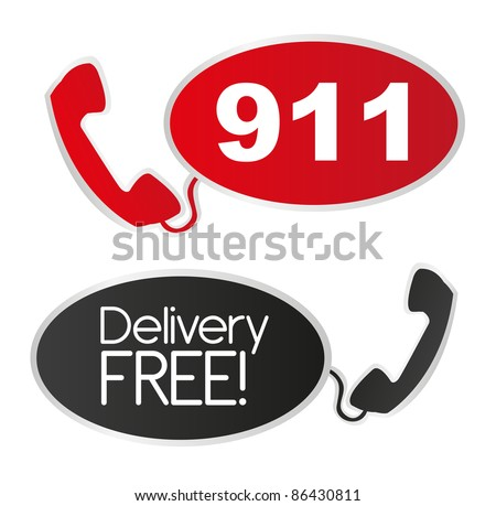 black and red telephone stickers background. vector - stock vector