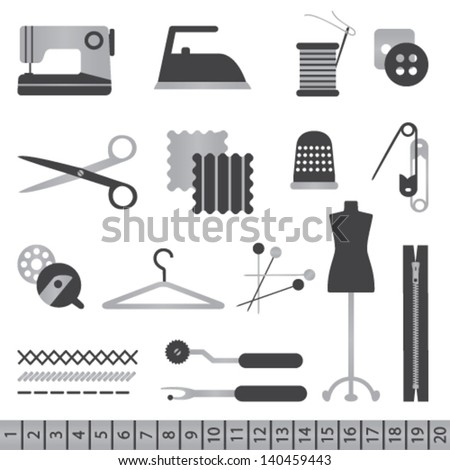 Black and silver sewing icons - stock vector