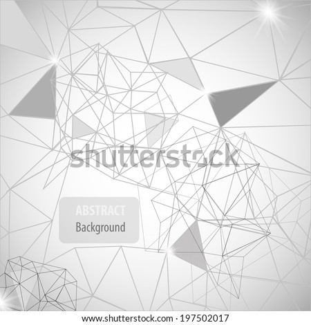 Black and white abstract background with triangles, lines and shapes - stock vector