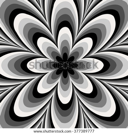 Black and white abstract flower pattern created from circle and ellipses - stock vector
