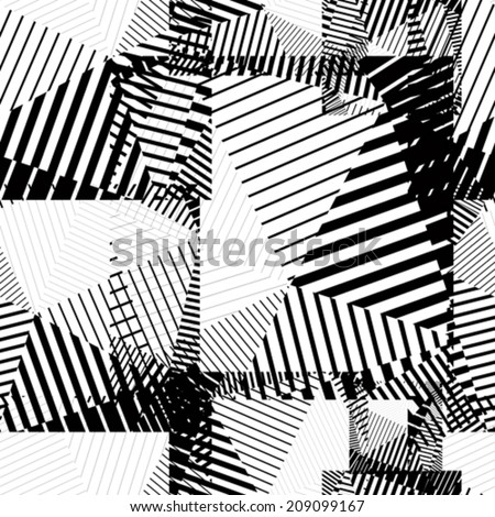 Black and white abstract lines seamless pattern. Vector psychedelic wallpaper with stripes and geometric figures. - stock vector