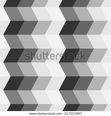 Black and white abstract seamless pattern.The illusion of stairs. - stock vector