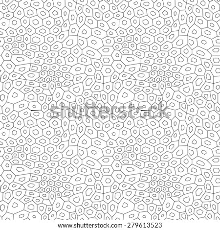 Black and white abstract uneven hexagon mosaic simple seamless pattern, vector - stock vector