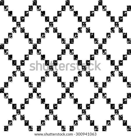 Black and white aged geometric rhombus shape grunge seamless pattern, vector - stock vector