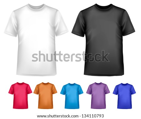 Black and white and color men polo shirts. Design template. Vector illustration. - stock vector