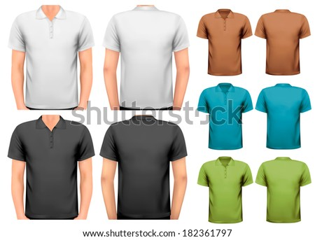 Black and white and color men t-shirts. Design template. Vector  - stock vector