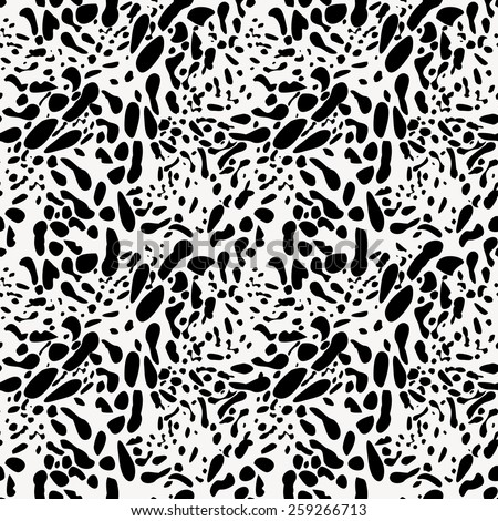 Black and white animal skin imitation seamless contrast spotted pattern. Repeatable ornament stylized by natural African wild animal skin texture. Background for web or textile. Vector file is EPS8. - stock vector