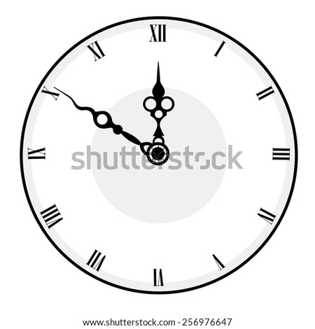 Black and white antique looking clock face isolated on white background - stock vector