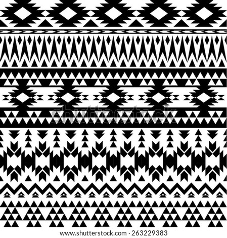 Black and white aztec style seamless pattern - stock vector