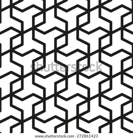Black and white background. Geometric abstract seamless pattern. Vector illustration - stock vector