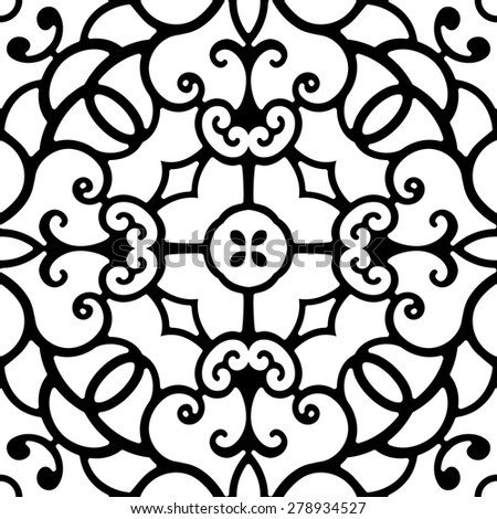 Black and white background, swirly ornament, vector seamless  pattern - stock vector