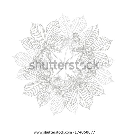 black and white bouquet flowers of leaves. Vector  - stock vector
