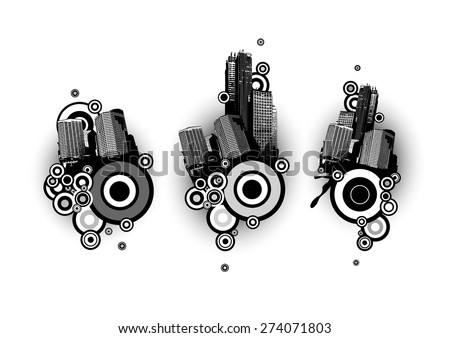 Black and white  buildings with circles. Vector art - stock vector
