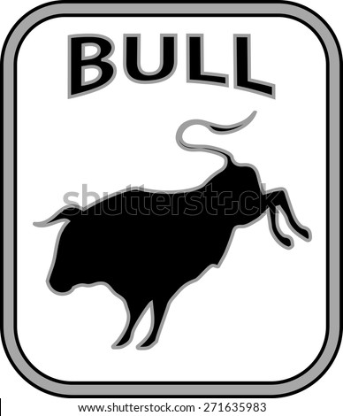 Black and white bull emblem isolated on white - stock vector