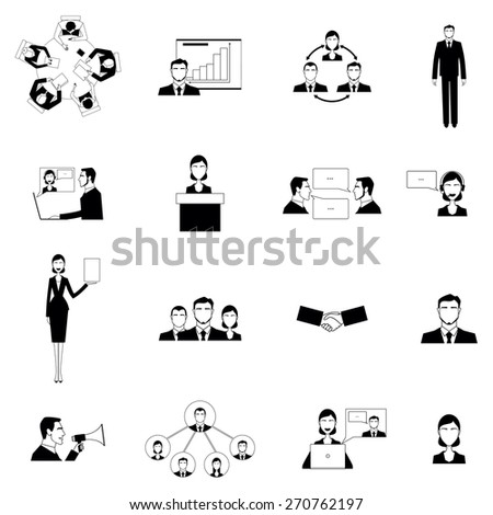 Black and white business meeting flat on the white background icons set isolated vector illustration - stock vector